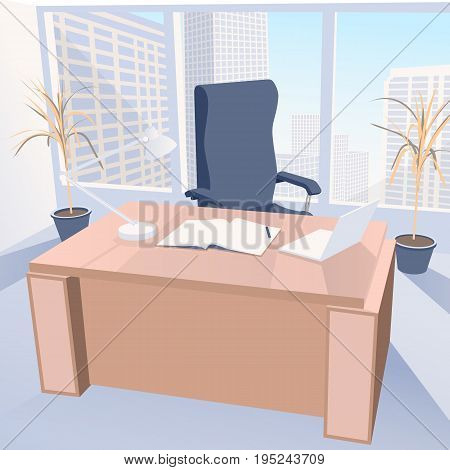 Boss office with chair and desk against the windows with city view. Work place with notebook and laptop vector illustration