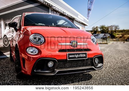 Vallelunga, Rome, Italy. June 24 2017. Red Fiat Abarth 595 Front Close Up
