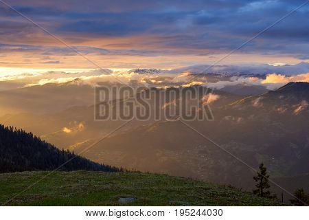 Amazing Sunset In A Mountains After Storm