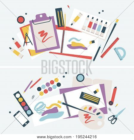 Illustration of a Student Desk with Brushes and Paints, Albums and other Items.