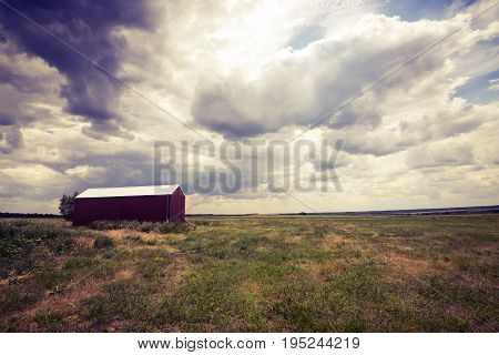 Lone Red Hangar, Barn In Prairie