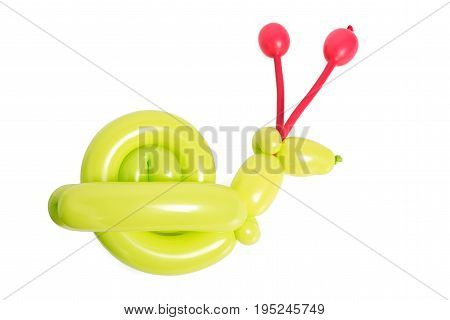 Twisted balloon animal snail isolated on white. Toy made of balloons. Balloon art