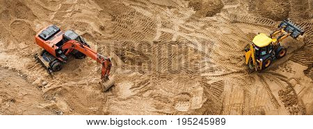 Construction of concrete foundation of new building. Construction machinery, excavators, top view, banner for website
