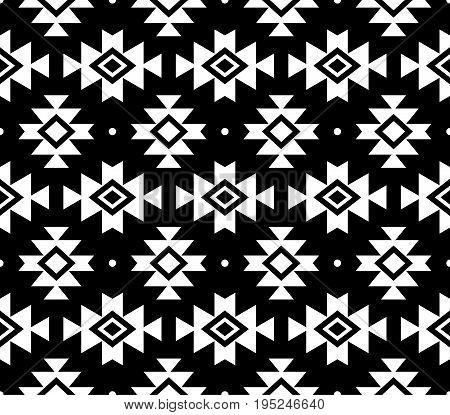 Aztec vector pattern, Tribal background, Navajo design in white on black background