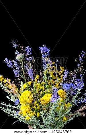 bouquet bunch of fresh lavender and yellow wildflowers on vertical black background with reflection