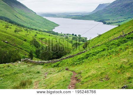 Landscape of Wast Water, on the way to Scafell pike, the highest mountain in England, Lake District National Park, England, selective focus