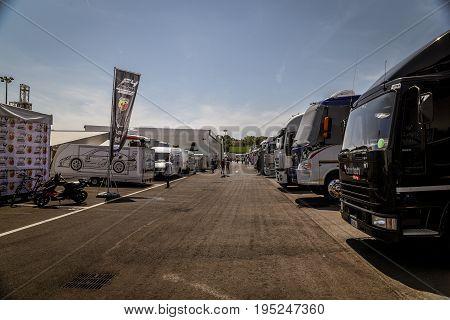 Vallelunga, Rome, Italy. June 24 2017. Trucks Parked In Circuit Paddock
