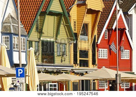 Traditional norwegian multi colored facades. Stavanger city. Tourism norway. Horizontal