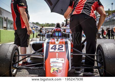 Vallelunga, Rome, Italy. June 24 2017. Italian Formula 4 Abarth  Championship. Driver Artem Petrov O