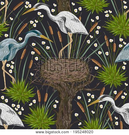Seamless pattern with heron bird, old tree, nest and swamp plants. Marsh flora and fauna. Isolated elements Vintage hand drawn vector illustration in watercolor style
