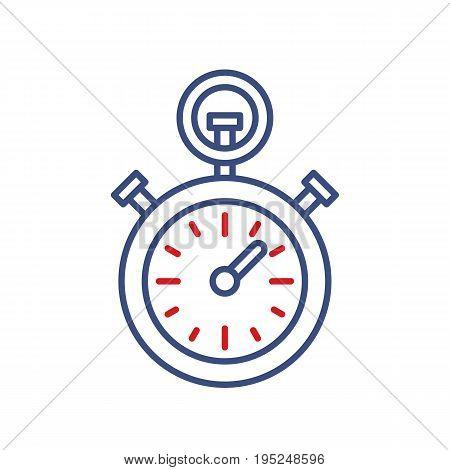 Timer clock vector line icon. Sport championship stopwatch sign. Chronometer illustration.