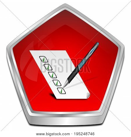 red Button with check list - 3D illustration