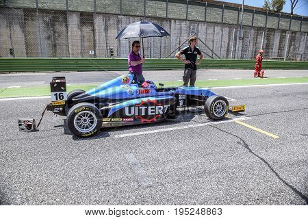 Vallelunga, Rome, Italy. June 24 2017. Italian Formula 4 Abarth Championship,  Job Van Uitert Driver