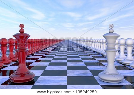 3d illustration: military-political concept. Chess field with figures of kings, leaders of their troops, red white colors are lined up opposite each other. On the background of blue sky with clouds.