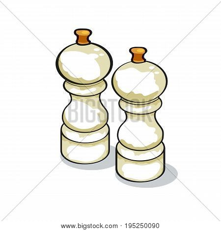pepper and salt shaker. food seasoning. sketch vector illustration.