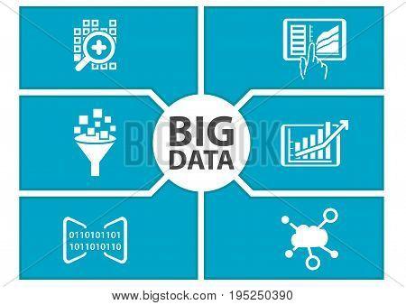 Big data concept. Vector illustration of dashboard.