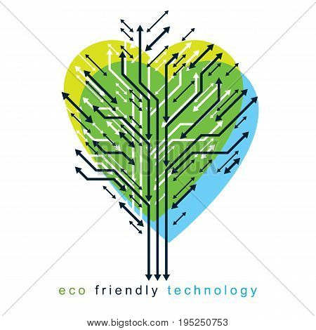 Artistic creative illustration of vector tree of shape of heart created in technology style digital element with wireframe and arrows. Eco friendly technology concept.