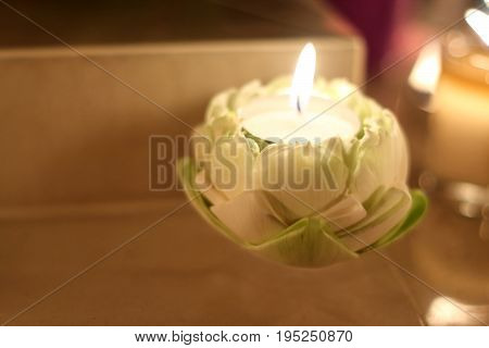 Burning Candle in lotus for sacrifice or praying.