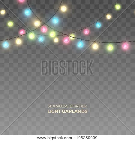 Vector horizontally seamless border of realistic colored light garlands. Festive decoration with shiny colorful Christmas lights. Glowing bulbs isolated on the transparent background.
