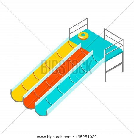 Water colorful slide isolated. Slide on white background
