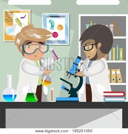 Scientists in medical science laboratory. Vector illustration of flat design people characters.