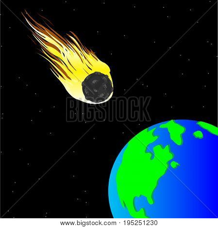 Comet flying to planet land from elbowroom of cosmos