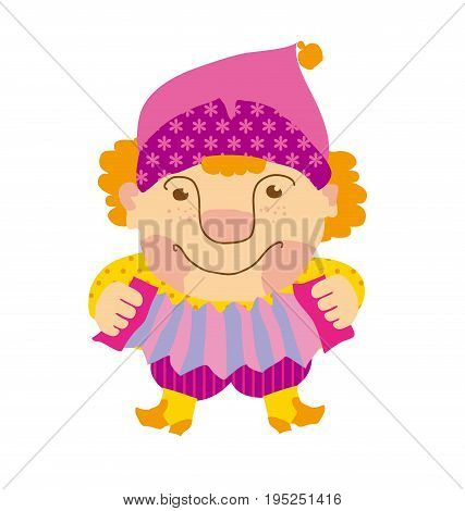buffoon with music instruments.  traditional russian clown playing folk. vector cartoon illustration