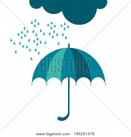 autumn rainy day with cloud and water drops symbol. umbrella icon flat simple vector illustration.