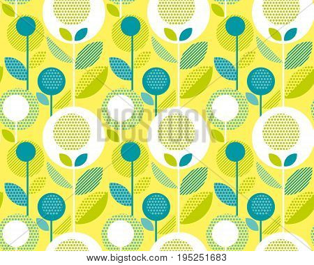 icid yellow 60s floral retro pattern. geometry decorative style vintage flower seamless motif. vector illustration