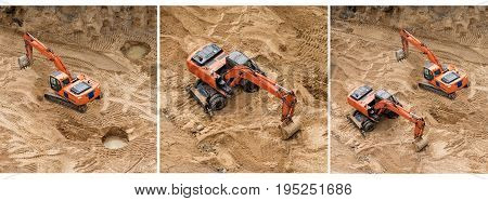 Set of excavators at sandpit during earthmoving works. Construction of concrete foundation of new building. Banner for website
