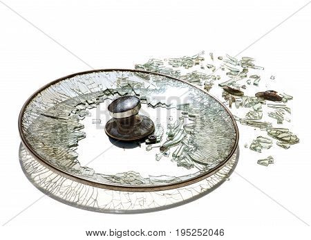 Pot cover glass is broken has sun lighting reflex and isolate on white background.