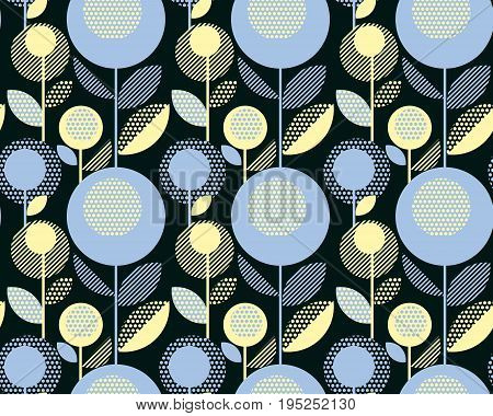 60s floral retro pattern. geometry decorative style vintage flower seamless motif. vector illustration
