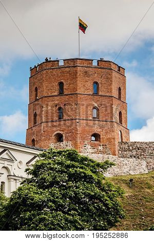 Gediminas Tower On The Hill In The Old Town Center In Vilnius, Lithuania