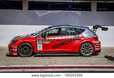 Vallelunga, Rome, Italy. June 24 2017. Seat Leon Cupra Cup Racing Car In Circuit Pit Lane