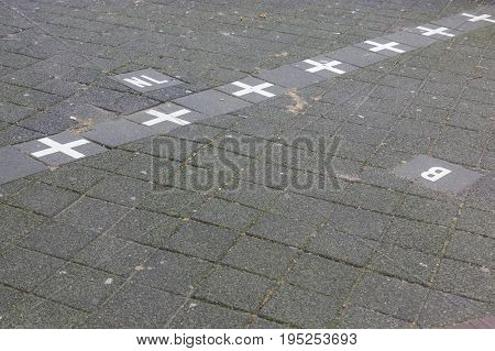 Belgium and Niederlande border in Baarle Nassau town