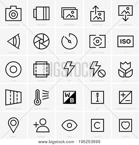 Set of twenty five photo site icons