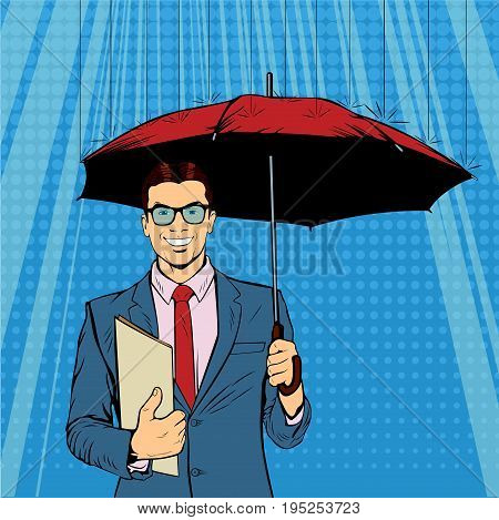 A businessman standing holding umbrella protecting his money to investments, money management. Saving money for any financial crisis will come.  A contemporary style. Pop art retro vector illustration