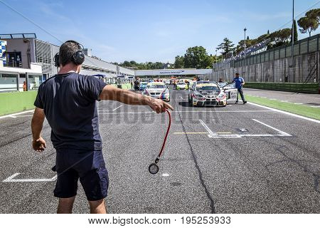 Vallelunga, Rome, Italy. June 24 2017. Italian Super Cup Cars Positioning On Starting Grid