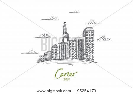 Career concept. Hand drawn man moves towards the goal. Person moves higher, symbol of ambition isolated vector illustration.