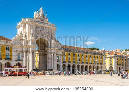 LISBON,PORTUGAL - MAY 18,2017 - View at the Rua Augusta Arch from Comercio sqaure in Lisbon. Lisbon is the capital of Portugal.
