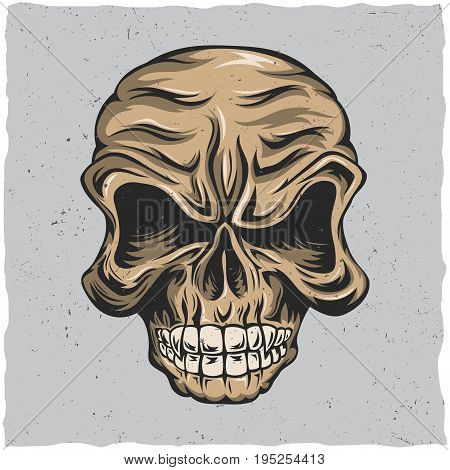 Angry skull poster with beige and grey colors vector illustration