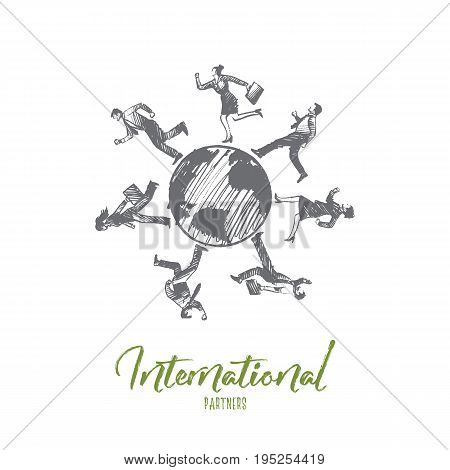 Internationl partners concept. Hand drawn businessmen all over the world. Business partners isolated vector illustration.