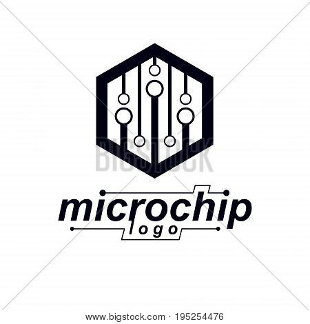 Futuristic cybernetic vector motherboard. Digital element circuit board. Microprocessor scheme abstract logo.