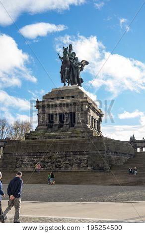 KOBLENZ, GERMANY - FEBRUARY 21, 2016: Statue of German Emperor William I in German Corner in Koblenz Germany
