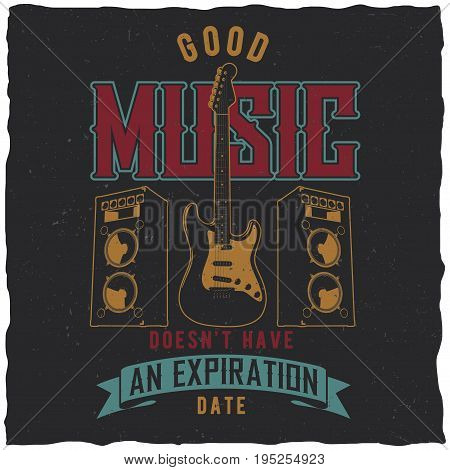 Good music poster with guitar in the centre vector illustration
