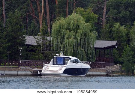 Motorboat at the river.Near Kiev,Ukraine.July 13, 2017