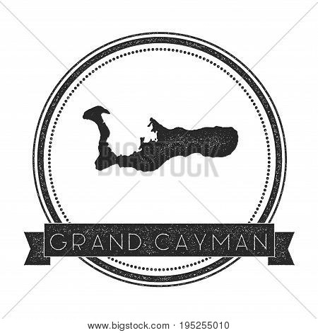 Grand Cayman Map Stamp. Retro Distressed Insignia. Hipster Round Badge With Text Banner. Island Vect