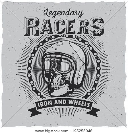 Lagendary racers poster with one skull in helmet and ribbon on dusty background vector illustration