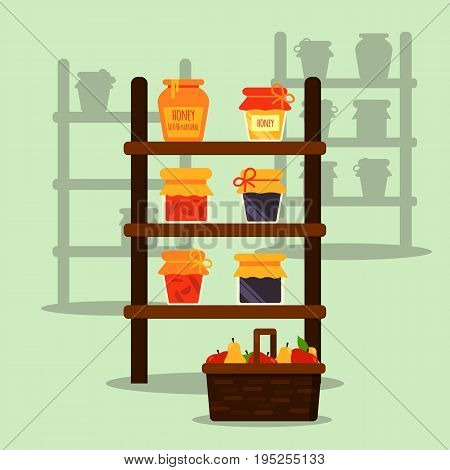 Farmer local market. Stand or stall with honey, jam and juice jar. Basket with fruits. Modern flat vector illustration. All objects are grouped Easy to recolor and scale Eps10