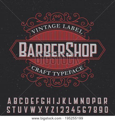 Barber Shop vintage label poster with craft typeface on black background vector illustration